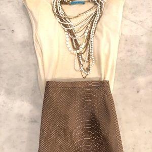 BCBG Snake Print Leather Skirt - Brown + Cream - 6